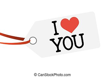 hang tag with text I LOVE YOU - white hang tag with red...