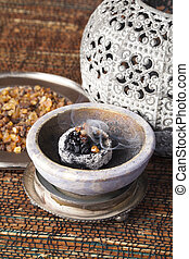 Myrrh is an aromatic resin, used for religious rites,...