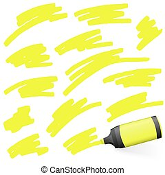colored highlighter with markings - yellow colored high...