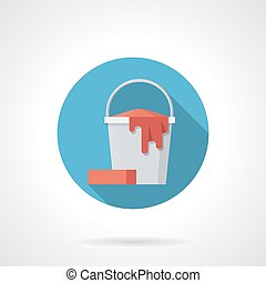 Mopping bucket blue round vector icon - Symbol of white...