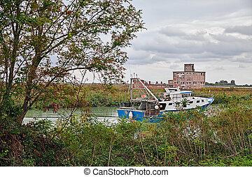 Porto Tolle, Veneto, Italy: view of the Po Delta Park with a...