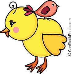 Little yellow chick with birdie - Scalable vectorial image...