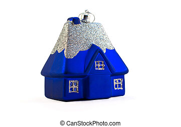 blue christmas house isolated over white