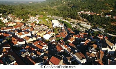 Aerial. Video shooting from dron of Monchique village....