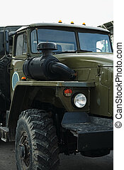 Modern military truck - Crop part of new green military...
