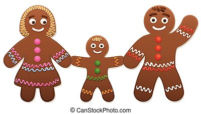 Gingerbread Family Mother Father Child - Gingerbread love...
