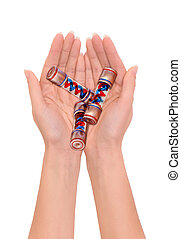 batteries of the future - woman holding in hands prototype...
