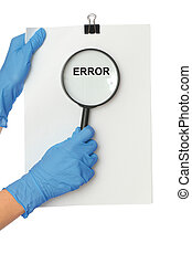 error - The medical worker holds a list of errors in the...