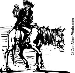 Colonial Horseman with Lamp - Woodcut style expressionist...