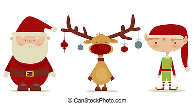 retro Santa claus, Elf, Rudolph , illustration