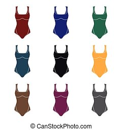 Green Swimsuit for women. Sporty swimsuit for water...