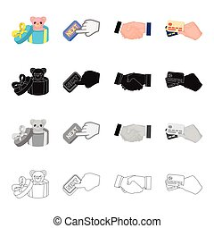 Toy in gift box, Next button, handshake, credit cards in...