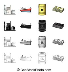 Oil, fire,machinery, and other web icon in cartoon...