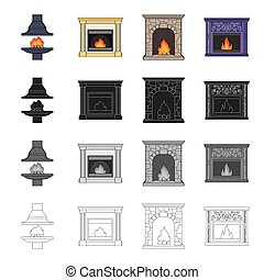 Fireplace, fire, warmth and comfort. Different kinds of...