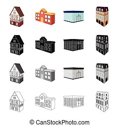 Building, store, library, and other web icon in cartoon...
