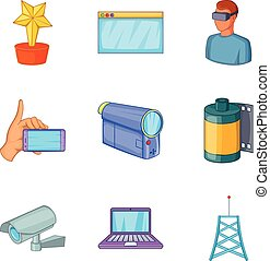 Fieldwork icons set, cartoon style - Fieldwork icons set....