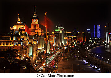 Shanghai Bund at Night China Flags Cars with Trademarks...