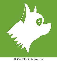 Pinscher dog icon green - Pinscher dog icon white isolated...