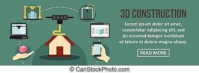 3D contruction banner horizontal concept. Flat illustration...