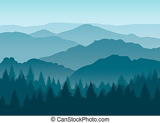 Misty blue mountain silhouettes background - Vector misty or...