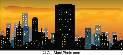 Big City Skyline Sunset Wide color vector illustration