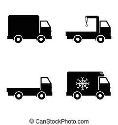 Vector icon set delivery car - Vector icon set delivery...
