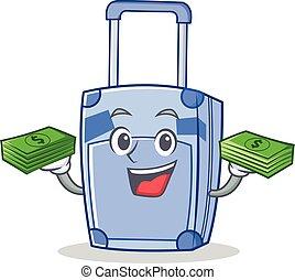 dinero, estilo, carácter, caricatura, maleta