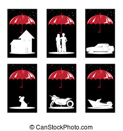 Insurance concept - A vector illustration of a set of...