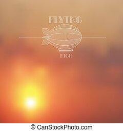 Blurred sunset skies background with white dirigible line...