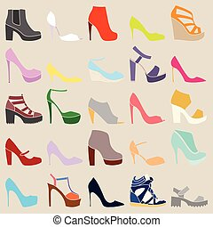 Set of different stylish shoes on beige background