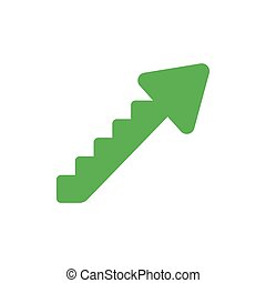 Flat design vector concept of arrow stairs moving up - Flat...