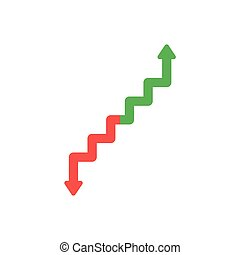 Flat design vector concept of arrow stairs moving up and...