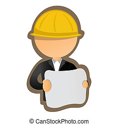 illustration of architect on white backghround