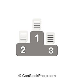 Flat design vector concept of written papers on grey podium...