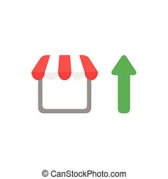 Flat design vector concept of shop or store with arrow...