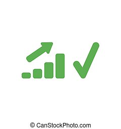 Flat design vector concept of sales bar chart moving up with...