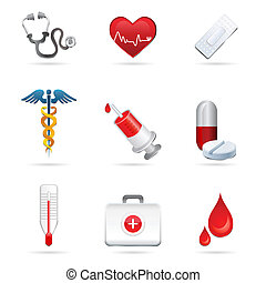 medical icons - illustration of medical icons on white...