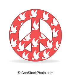 sign of peace with bird - illustration of sign of peace with...