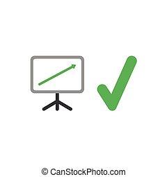 Flat design vector concept of sales presentation chart arrow...