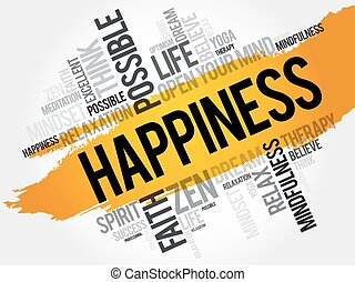 Happiness word cloud concept - Happiness word cloud collage,...