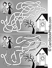 Trick or treat maze for kids with a solution in black and...