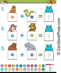 maths addition educational game with animals - Cartoon...