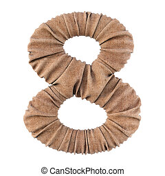 digits made from burlap. Isolated on white. 3D illustration.