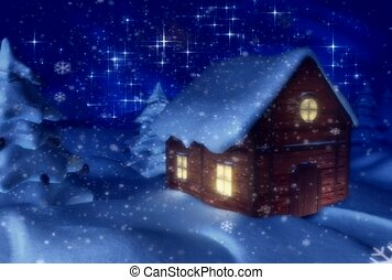 outdoors, log cabin, winter scene