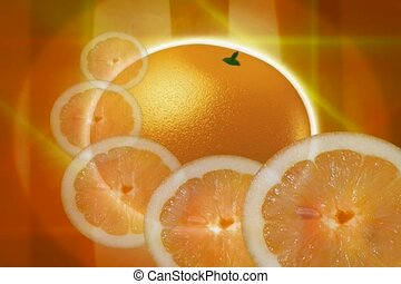 orange slice, cut, food