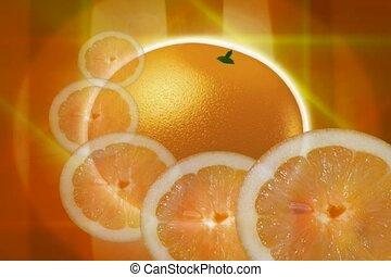 orange slice, cut, food