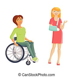 Women with disabilities - broken arm and wheelchair, flat...