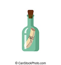 Flat style icon of message in green glass bottle - Message,...