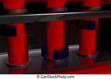 red, black, cylinder