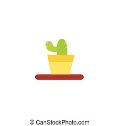 Flat style cactus home interior, decoration object - Flat...